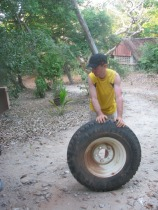 Changement d'un pneu sur la Landrover
