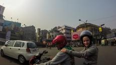Céleste à moto