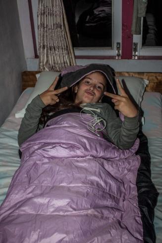 Céleste dans son lit